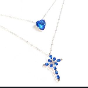 NWT Blue Sparkly Heart Cross Double Goth Necklace!